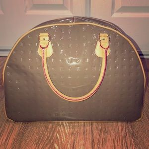 Arcadia Taupe Patent Leather Bowling Shape Tote
